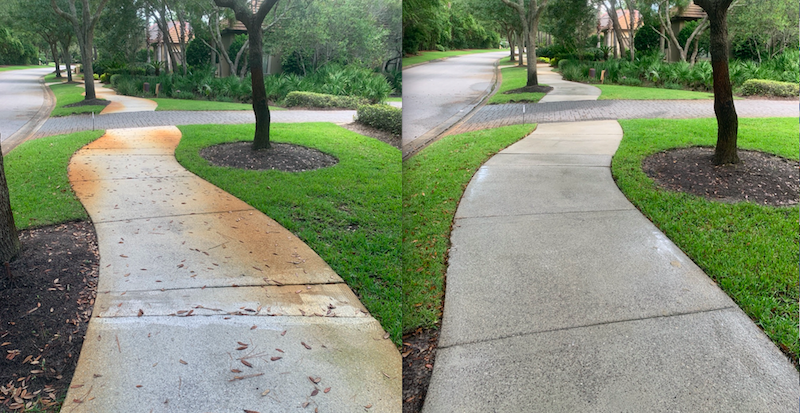 Hard Water Stains Removed From Sidewalk In Sandestin Fl