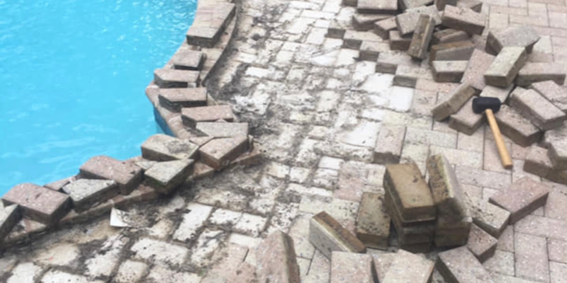 Pool Pavers Leveled, Cleaned and Sealed